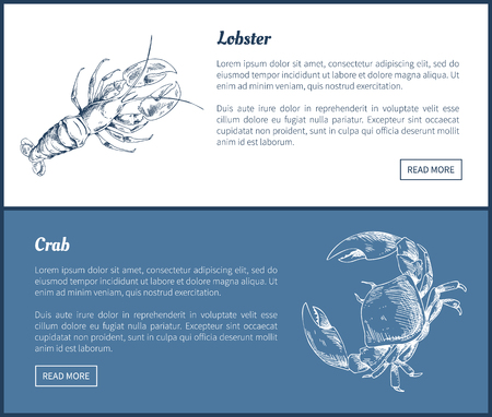 Lobster and Crab Seafood Double Color Graphic.