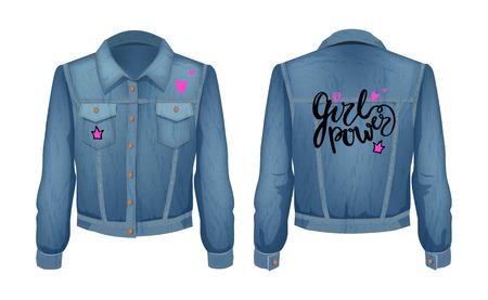 Girl Power Denim Jacket Patch Vector Illustration Archivio Fotografico - 112717100