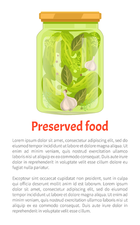 Preserved food poster cucumbers with bay leaves and garlic, dill and paper in glass jar vector with text.Traditional pickled marinated veggies, canned snack