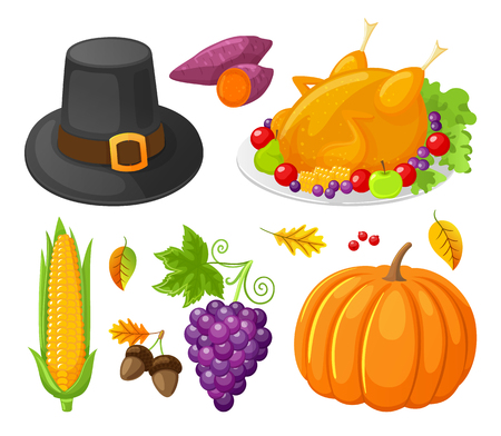 Pumpkin thanksgiving day corn isolated icons set vector. Grapes and hat, prepared turkey meat, acorns and maple leaves. Berries and beetroot meal