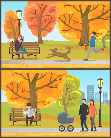 Old pensioner reading daily newspaper in park set vector. Family with perambulator walking calmly, person with dog on leash, woman with phone talking Illustration