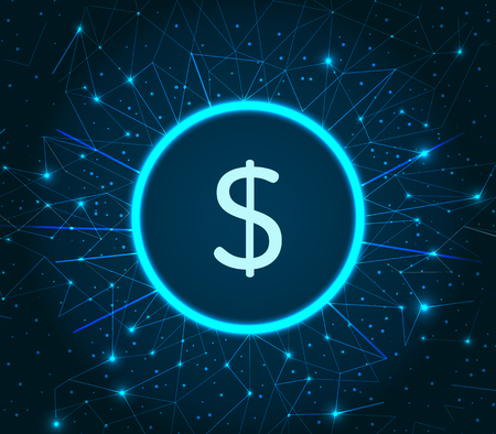 Dollar American currency USA coin circled icon on illuminated backdrop vector. Cryptocurrency and banking online. Finance and virtual money profit Illustration