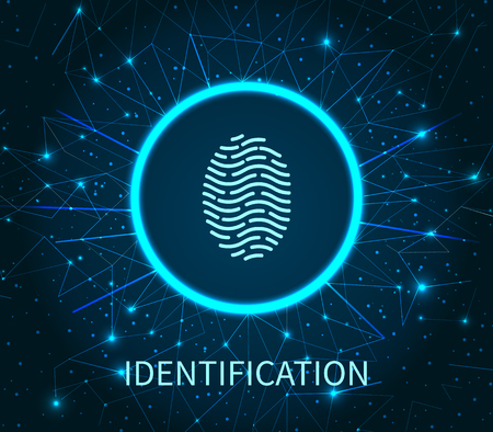Identification of human fingerprint poster with text digital system vector. Thumbprint and dactylogram, authentication of individual and personality