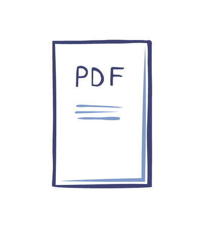 Pdf file document with publication isolated icon vector. Electronic text, article with information, sheet of paper with data. Page containing info