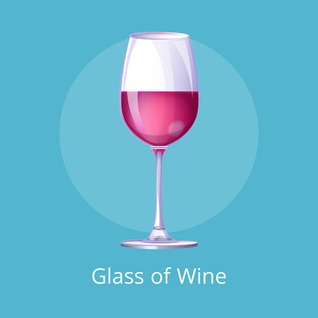 Glasses Poster with Half-Full Glass Wine Isolated Illustration