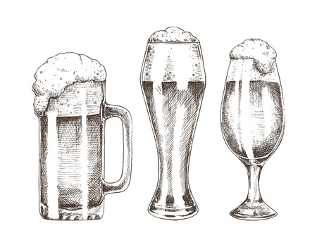 Beer Goblets Collection Isolated on White Backdrop