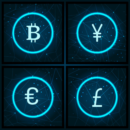 Bitcoin and Yen, Pound Sterling Icons Set Vector Иллюстрация