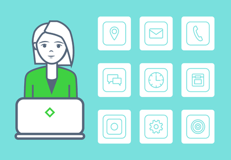 Woman Smart Female with Isolated Icons Set Vector Ilustrace