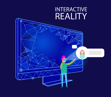 Interactive Reality Computer and Person Vector Banque d'images - 112857229