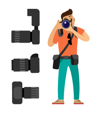 Photographer with digital camera taking photo. Set of professional photographing gear with flash lights, removable lens isolated on white vector icons Çizim