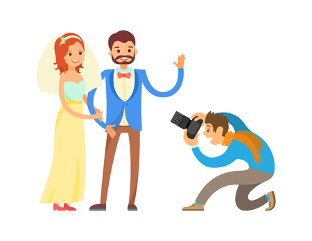 Groom in suit and bride wearing gown, waving hand, digital camera vector illustration isolated. Wedding photo session of newlyweds by photographer.