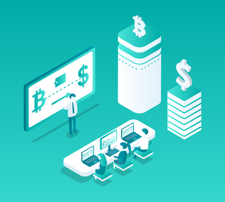 Blockchain studies isolated isometric icons set. People learning cryptocurrency mining details. Rate bitcoin and dollar, visual representation vector Foto de archivo - 127259065