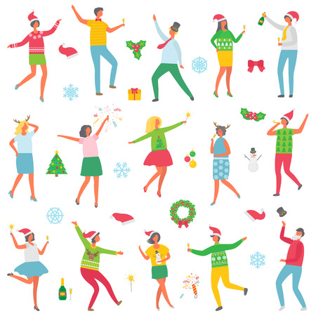 Christmas party people celebration set vector. Man and woman wearing sweaters with reindeer, holding champagne in hands. Dancing with snowman toy
