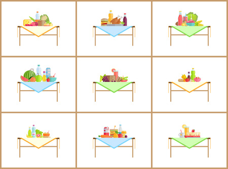 Still life compositions for photo with food set. Drinks near fruits or vegetables, strawberry cake, fast food and salad vector illustrations isolated.