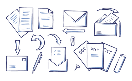 Office papers and pages with information monochrome sketches outline icons set vector. Pdf and doc, txt envelopes and arrows. Supplies for writing Illusztráció