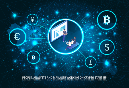 People Analyst Manager Bitcoin Start Up Poster Vector