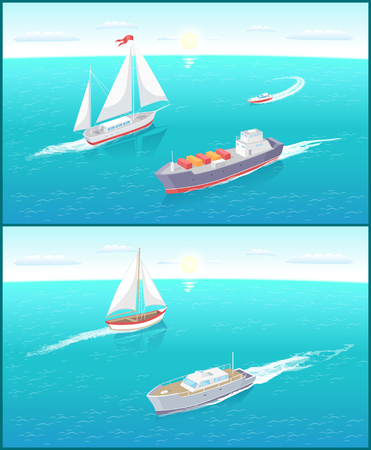 Water transport and sailing boats and ferry set vector. Vessels with cargo and goods in boxes for transportation. Motor ship with engine for rides