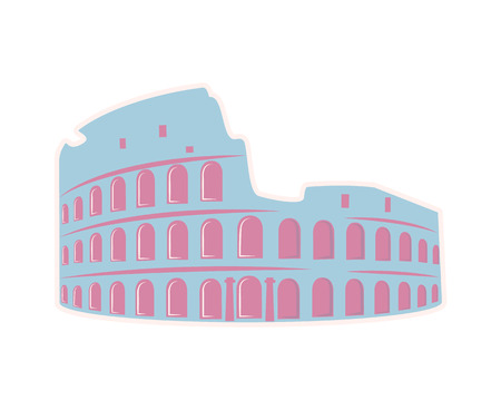 Roman Colosseum Theater Travel Sticker Isolated Illustration