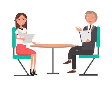 Man and young woman on business meeting at round table. Characters in formal clothes during job interview with document or tablet vector illustration.