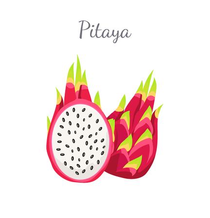 Pitaya or pitahaya exotic juicy fruit vector whole and cut isolated. Tropical edible food, dieting vegetarian icon full of vitamins, dragon fruits sign