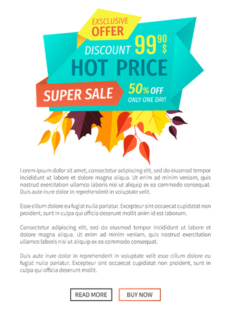 Hot price super sale poster with text. Exclusive products super quality autumnal proposition clearance. Sellout in fall season only one day vector