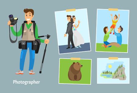 Fotógrafo con cámara digital y fotografías. Foto de boda, familia en el césped, oso grizzly salvaje y paisaje de roca cerca de ilustraciones vectoriales de río.