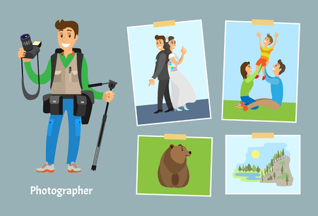 Photographer with digital camera and photos. Wedding picture, family on lawn, wild grizzly bear and landscape of rock near river vector illustrations.