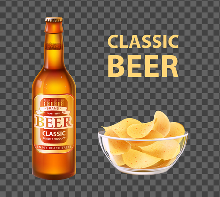 Craft beer in bottle and chips in bowl. Alcohol drink of hop, barley or yeast, potato snack realistic 3D vector illustration isolated on transparent.
