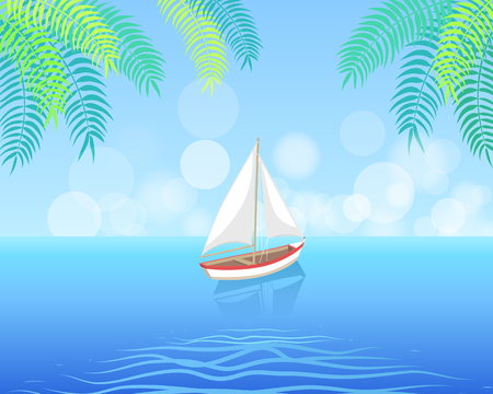 Sail boat with white canvas sailing in deep blue waters and leave trace vector on on palm trees backdrop. Modern yacht marine nautical personal ship