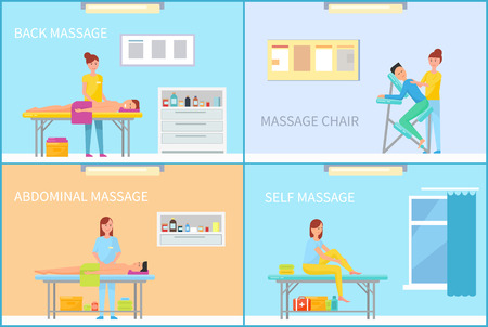Massage back and abdominal, self on couch, with apparatus and sitting on armchair. Salon interior with equipment and furniture cartoon vector set