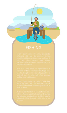 Fishing man sitting cross-legged on pier with throw-line and bucket with haul. Fisherman on dock with rod on lake or riverside back vector poster.