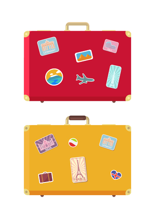 Luggage traveling bags decorated with stickers set vector. Suitcase for personal belongings of passengers and voyagers. Journey case with flags signs