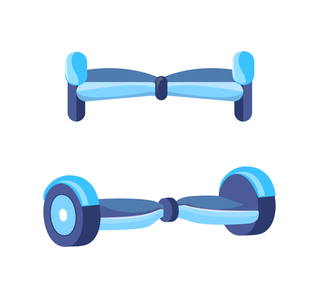 Hoverboard Scooter for Teenagers Icons Set Vector Illustration