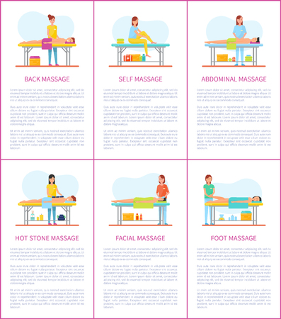 Back massage and foot, abdominal belly, facial and self care, hot stone method vector. Posters with text sample, massaging woman, clients relaxing