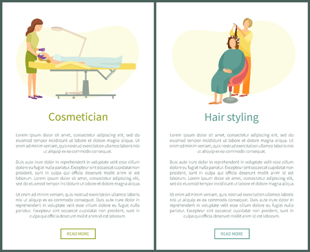 Cosmetician facial cosmetic procedures and hair styling salon vector web posters. Woman cosmetologist taking care about skin, hairdresser curve locks