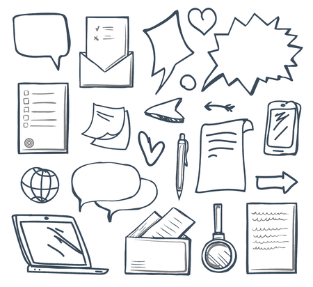 Office messages and thought bubbles isolated icons set vector. Monochrome sketches outline, magnifying glass, heart and laptop screen, globe arrow 일러스트