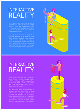 Interactive reality, people wearing vr goggles walking on steps. Posters set with text sample, displays digital screens, females with gadgets vector