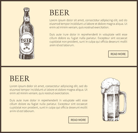 Beer objects set hand drawn vector sketches. Full tumbler with flowing foam and bottleisolated on beige vintage icons illustrations for bar menu.