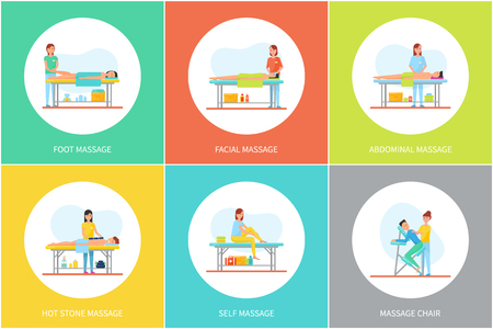 Foot and facial, abdominal and self, hot stone massage and special chair cartoon set vector posters. Masseur in uniform and client lying relaxed on table Illustration