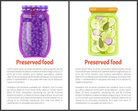 Preserved food posters, blueberry and cucumber with garlic, greenery. Jar of vegetables or berries in marinade banners cartoon vector illustrations.