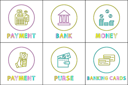 Cash or credit card payment, purse or wallet, money coin pail and bank building flat illustration lineout round framed icon set with caption isolated.