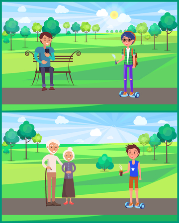 Young Teen and grandparent,,s in Park Set Vector