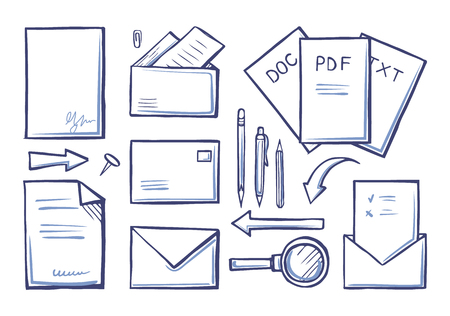 Office supplies papers and documents monochrome sketches icons set vector. Envelopes and letters pages, documents and magnifying glass with handle