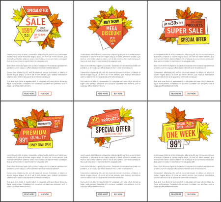 Promo pages special discounts on Thanksgiving day. Special exclusive offer buy now poster with oak leaves. Vector autumn sale banner, yellow foliage
