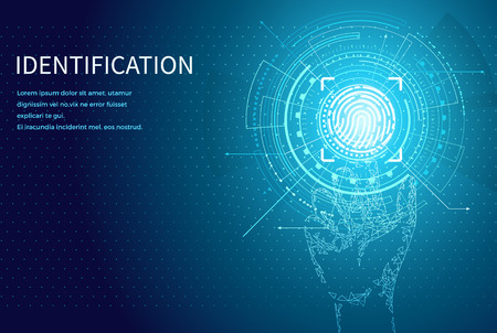 Identification personal identity fingerprint poster with digital data screen and text vector. Fingermark and thumbprint authorization of unique human finger Vektorgrafik