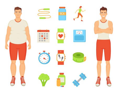 Sport and diet, men and isolated icons set. Obesity and healthy lifestyle habits. Bottle with bcaa and vitamins, wristband sport trainings vector Stock Vector - 112837742