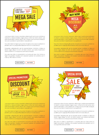 Leaflets set limited time super offer on autumnal sale. Promo autumn or fall discount half price advertising web posters foliage orange leaves vector
