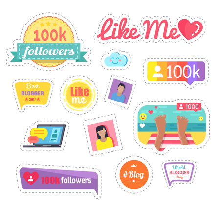 Like Me Social Networks Laptop Sticker Vector Illustration
