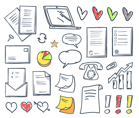 Office paper and hearts isolated icons vector. Pages and memo, notes and message in envelope, laptop screen and exclamation mark, increasing pointer Ilustrace