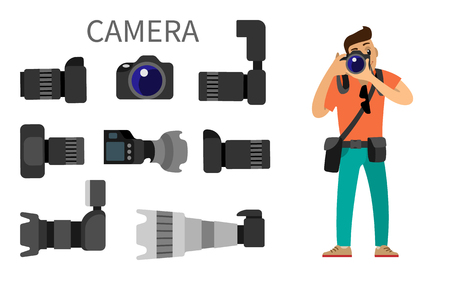 Photographer and gear with flash and zoom function, photojournalist and photographing equipment. High resolution action cameras with lens vector isolated